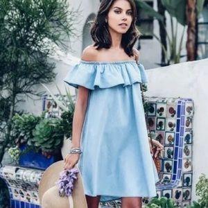 Zara Ruffled Off Shoulder Chambray Dress Sz Small